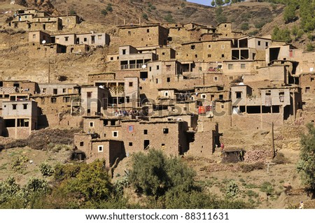 village in the Atlas mountain, Morocco - stock photo