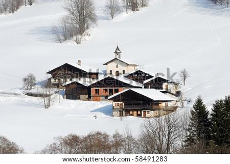 village in the mountain - stock photo