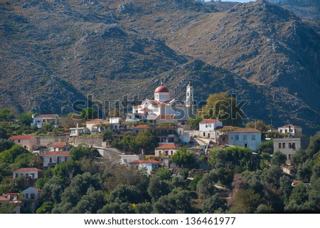 Village in the mountains of Crete/Greece - stock photo