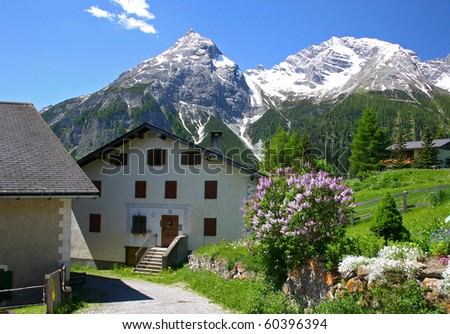 Village in the Swiss Alps - stock photo