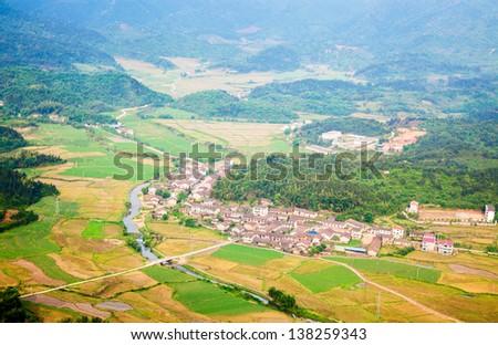 Village in the valley in Fuzhou Zixi County,Jiangxi Province, China - stock photo