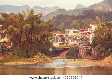 Village in Vietnam - stock photo