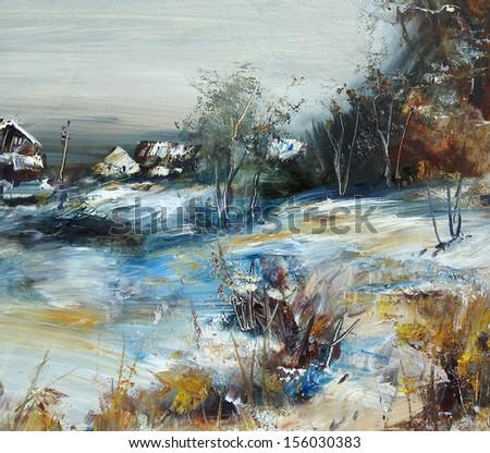 Village in winter, oil painting, illustration - stock photo