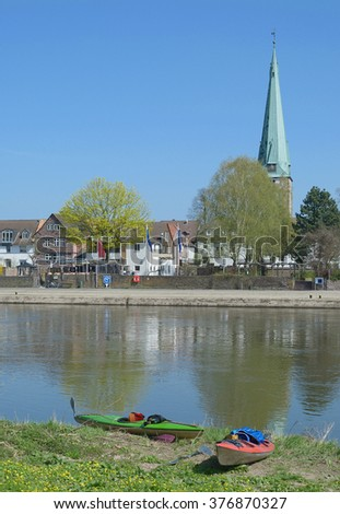 Village of Holzminden at Weser River in Weserbergland,Lower Saxony,Germany - stock photo