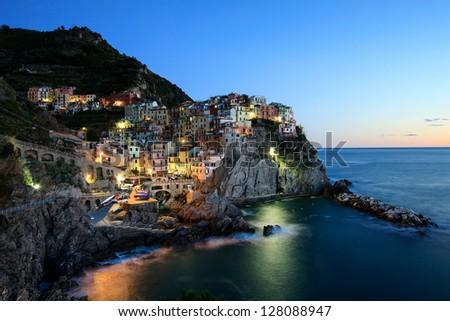 Village of Manarola, Cinque Terre, Italy - stock photo