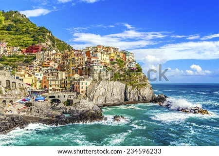 Village of Manarola on the Cinque Terre coast,  La Spezia, Liguria, northern Italy. - stock photo