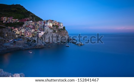Village of Manarola, 5 terre, Italy - stock photo
