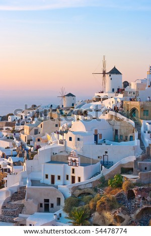 Village of Oia windmills at twilight, Santorini, Greece - stock photo
