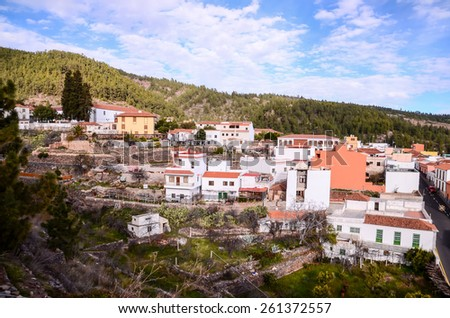 Village of Vilaflor among a forest of pines in the mountain at tenerife in the Spanish Canary Islands. - stock photo