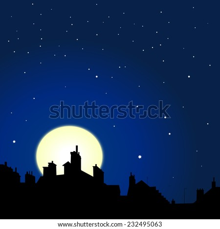 village rooftops silhouettes on moon and stars sky background  - stock photo