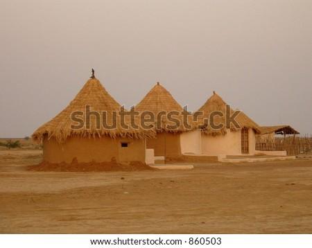 village scene - stock photo