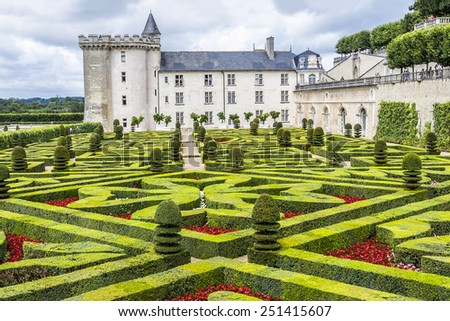 VILLANDRY, FRANCE - JULY 20, 2012: Chateau de Villandry is a castle-palace located in Villandry, in department of Indre-et-Loire, France. He is a world known for its amazing gardens. - stock photo