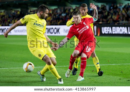 VILLARREAL, SPAIN - 28 APR: Alberto Moreno plays at the Europa League semifinal match between Villarreal CF and Liverpool FC at the El Madrigal Stadium on April 28, 2016 in Villarreal, Spain. - stock photo