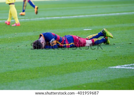 VILLARREAL, SPAIN - MAR 20: Lionel Messi plays at the La Liga match between Villarreal CF and FC Barcelona at El Madrigal Stadium on March 20, 2016 in Villarreal, Spain. - stock photo