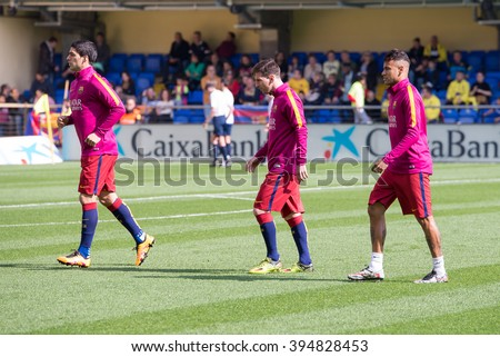 VILLARREAL, SPAIN - MAR 20: Neymar (r), Messi (c) and Luis Suarez (l) warm up prior to the La Liga match between Villarreal CF and FC Barcelona at El Madrigal on March 20, 2016 in Villarreal, Spain. - stock photo