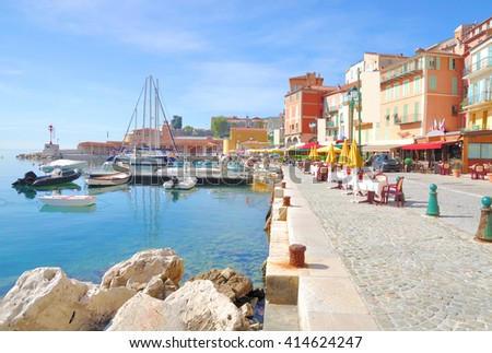 Villefranche sur Mer at French Riviera near Cannes and Nizza,Cote d`Azur,South of France - stock photo