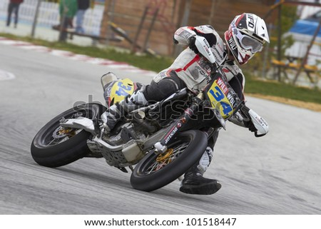 VILLENA, SPAIN - MAY 29: Alejandro Jover pilot of motorcycling in the Spanish championship of supermotard on May 29, 2012, Villena Spain - stock photo