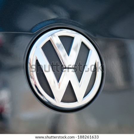 VILNIUS-APR 19: Close-up of VW logo on Apr. 19, 2014 in Vilnius, Lithuania. Volkswagen is a German automobile manufacturer and the biggest German automaker and the third largest automaker in the world - stock photo