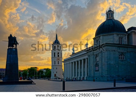 Vilnius cathedral square at evening, Lithuania - stock photo