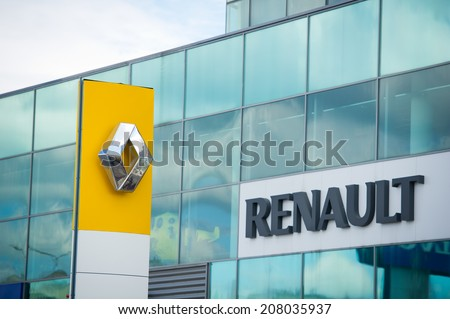 VILNIUS-JULY 6: Renault logo on July 6, 2014 in Vilnius, Lithuania. Renault S.A. is a French car manufacturer producing cars, vans, buses, trucks, tractors, tanks, buses/coaches and autorail vehicles. - stock photo