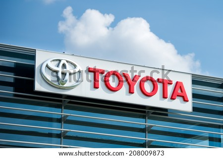 VILNIUS - JULY 6: Toyota logo on July 6, 2014 in Vilnius, Lithuania. Toyota Motor Corporation is a Japanese automotive manufacturer. It is the fourteenth-largest company in the world by revenue. - stock photo