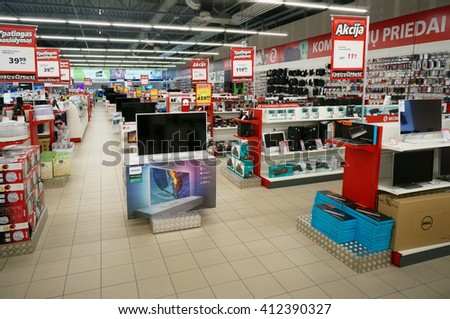 VILNIUS, LITHUANIA - APRIL 27, 2016: Elektromarkt consumer electronics  store in Nordika hyper market. Discounts and bonuses are offered. Is the  largest seller of equipment  was founded in 1994 - stock photo