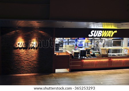 VILNIUS,LITHUANIA-JAN 19:SUBWAY fast food restaurant on January 19,2016 in Vilnius,Lithuania.Subway is an American fast food restaurant franchise that primarily sells submarine sandwiches and salads. - stock photo