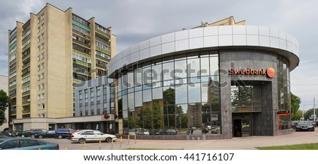 VILNIUS, LITHUANIA - JUNE 17, 2016:  Old Baltic office building of  Swedbank on Pietario street. Bank was founded in 1820. Bank has 320 branches in Sweden and more than 200 in the Baltic countries.  - stock photo