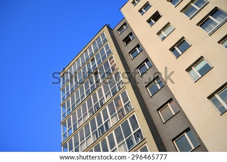 VILNIUS, LITHUANIA - MARCH 25: Stylish living block of flats. Real estate. New house in Vilnius city  on March 25, 2015, Vilnius, Lithuania. - stock photo