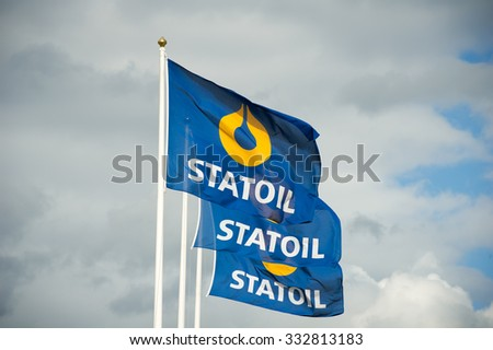 VILNIUS, LITHUANIA - MAY 16: Statoil petrol station flags on May 16, 2015 in Vilnius, Lithuania. Statoil ASA is a Norwegian multinational oil and gas company with operations in thirty-six countries. - stock photo