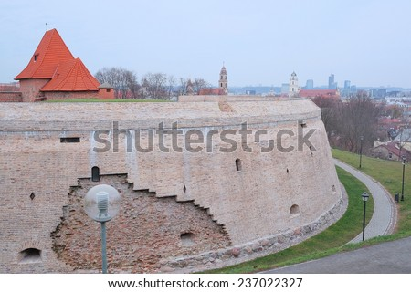 VILNIUS,LITHUANIA, November 17, 2014: Red bricks and stones fortification in old Vilnius city. Lithuania. - stock photo