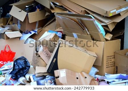 VILNIUS, LITHUANIA - NOVEMBER 11: Vilnius city Pasilaiciai district pile of paper to recycling on November 11, 2014, Vilnius, Lithuania. - stock photo