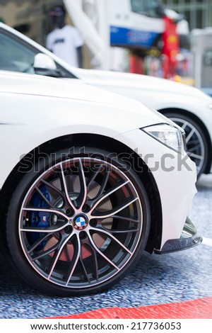 VILNIUS-MAY 9: BMW Alloy Wheel on May 9, 2014 in Vilnius, Lithuania. Bayerische Motoren Werke AG, commonly known as BMW or BMW AG, is a German automobile, motorcycle and engine manufacturing company. - stock photo