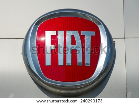 VILNIUS-OCT 2: Fiat dealership logo on Oct. 2, 2014 in Vilnius, Lithuania. Fiat Automobiles S.p.A. is an Italian automaker which produces Fiat cars and is the largest automobile manufacturer in Italy. - stock photo