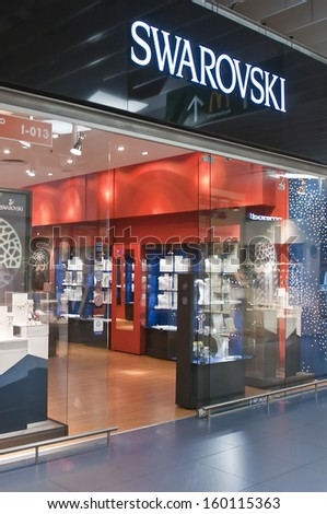 VILNIUS - OCTOBER 24: Swarovski store on October 24, 2013 in Vilnius, Lithuania. Swarovski brand exists since 1895 and has 24,841 employees (Dec 2009). - stock photo