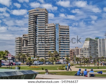 VINA DEL MAR, CHILE - FEBRUARY 12: Modern residential skyscrapers on the coastline on February 12, 2011 in Vina del Mar, Chile. Main tourist destination in Chile, an hour from capital Santiago. - stock photo