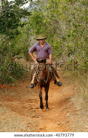 VINALES, CUBA - MARCH 20: Farmer on a horse in Vinales countryside in Cuba on March 20th, 2009. Most Cubans live way below established poverty lines, the issue is biggest in rural areas - stock photo