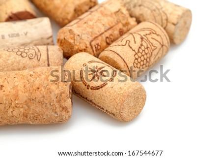 vine corks isolated on white - stock photo