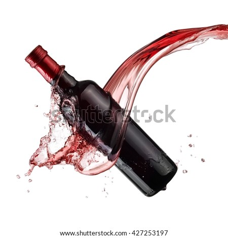 Vinegar bottle splash - stock photo