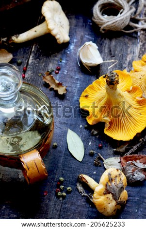 Vinegar , mushrooms, pepper and garlic - Ingredients for pickles - stock photo