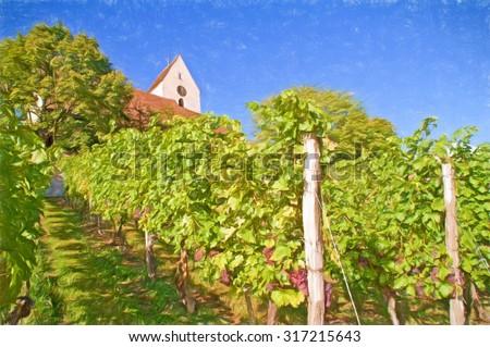 vineyard and church, south germany  - illustration based on photo image - stock photo