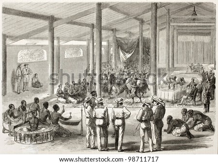 Vinh Long feast given in honour of French vice-admiral Bonard by local authorities (Cochinchina, at present days Vietnam). Created by Godefroy-Durand, published on L'Illustration, Paris, 1863 - stock photo