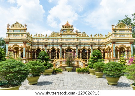 Vinh Tranh Pagoda in My Tho, the Mekong Delta, - stock photo