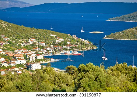 Vinisce village bay sailing destination, Dalmatia, Croatia - stock photo