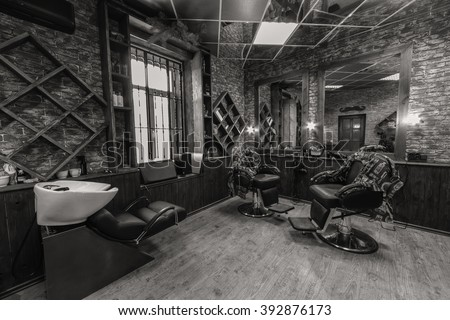 "Vinnitsa,Ukraine - January 25: Interior of ""Bary""Barbershop on Teatralnaya str. 75,  January 25, 2016 in Vinnitsa, Ukraine. - stock photo"
