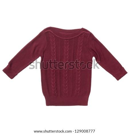 Vinous sweater isolated on white - stock photo