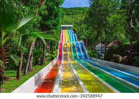 VINPEARL RESORT, NHA TRANG, VIETNAM - NOV 24, 2014. Colorful waterslide in Vinpearl water park, Nhatrang - Vietnam - stock photo