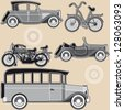 Vintage abstract modes of transport on a beige background. Raster version - stock photo