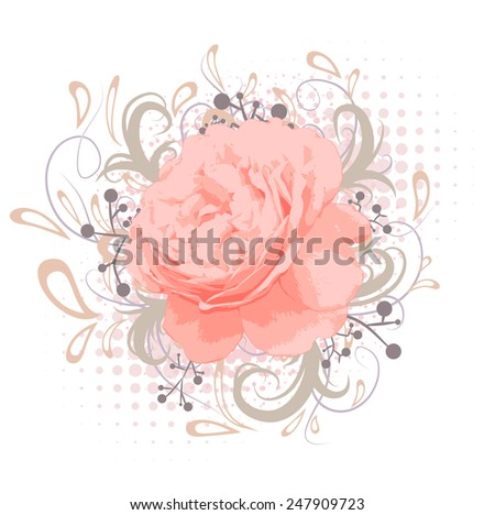 Vintage Abstract Peony Flower With Floral decoration Over White - stock photo
