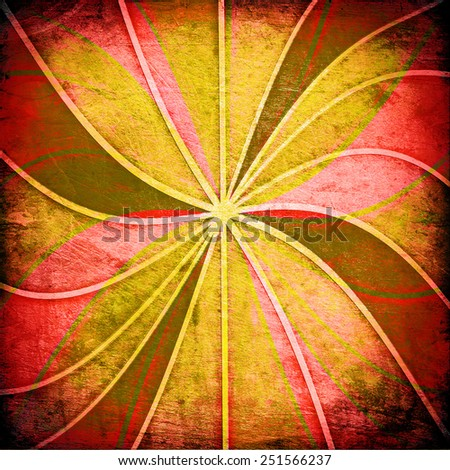 vintage abstract sun's rays on the wall grunge - stock photo